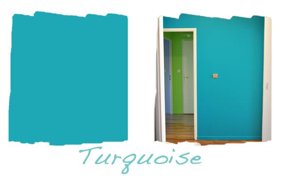 Entrée avec 1 mur turquoise