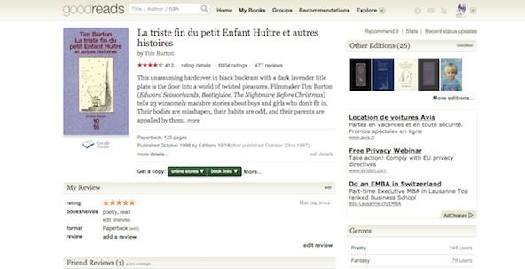Goodreads - Fiche Burton