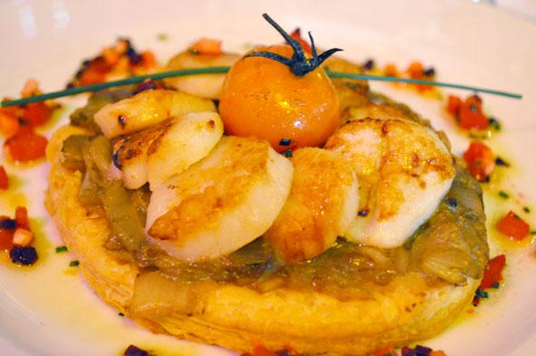 Tarte endives et St-Jacques - Restaurant L'Institution Lyon