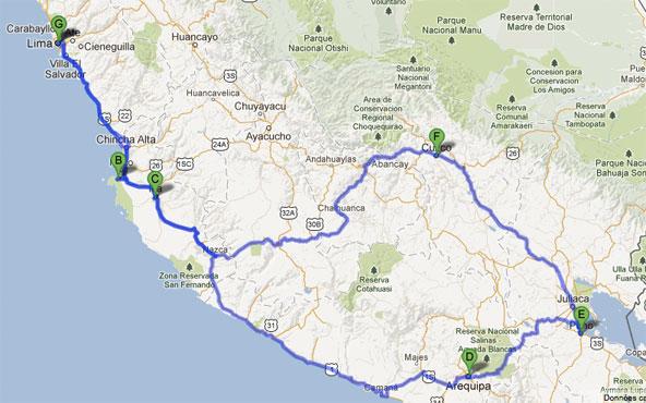 Trajet road trip au Pérou