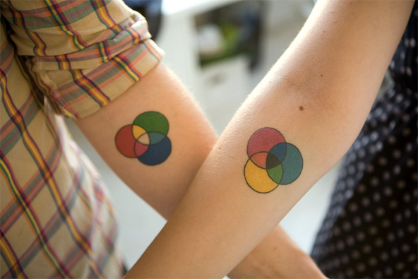 Colours couple tattoo