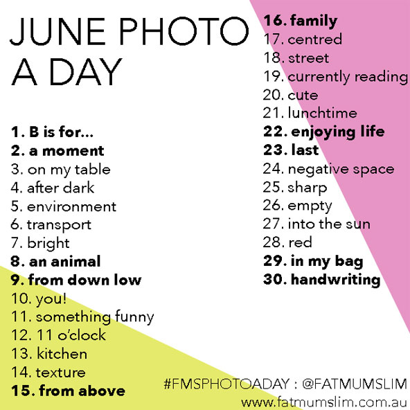 June Photo A Day Challenge by Fat Mum Slim