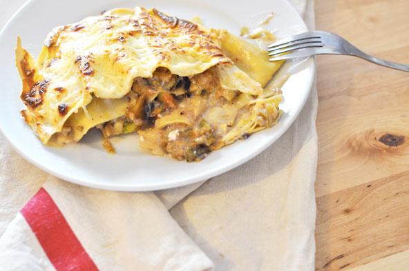 Lasagnes figues, chèvre et noix