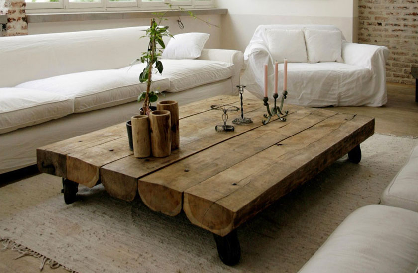 Table basse salon rustique - Table de nuit rustique ...