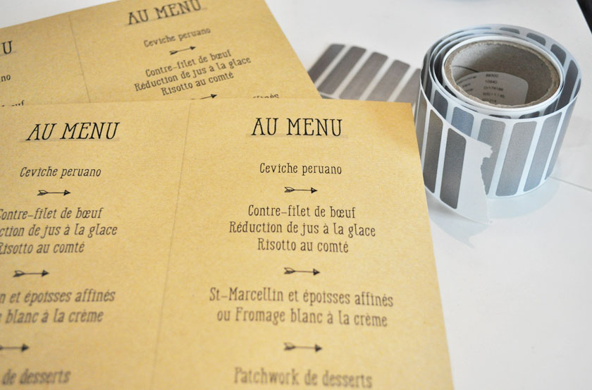 DIY mariage - Menu surprise à gratter