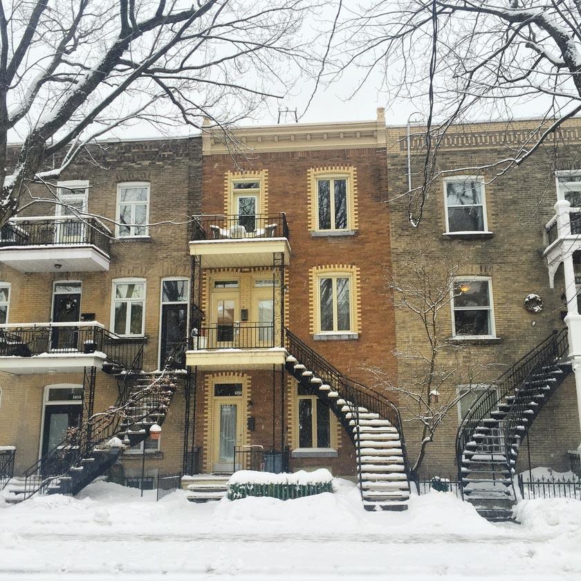 Plateau Mont-Royal sous la neige (Montréal)