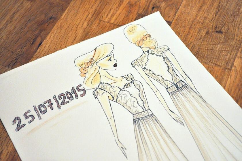 Croquis robe de mariée Caroline Takvorian
