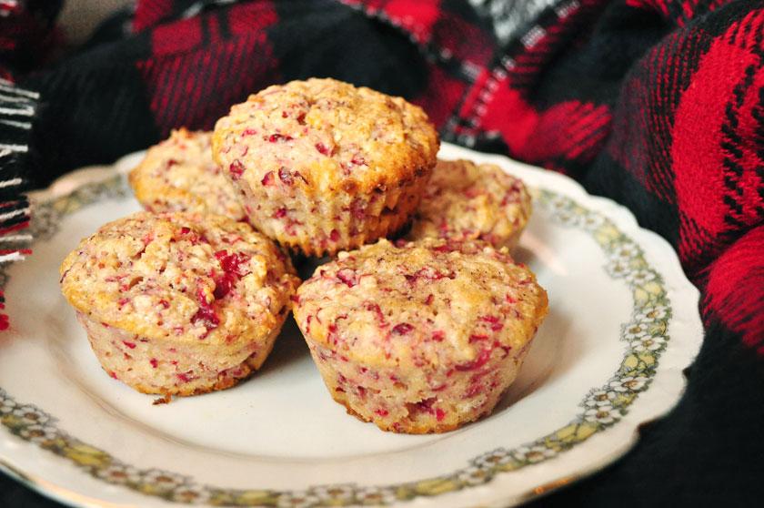 Muffins avoine, canneberges et citron