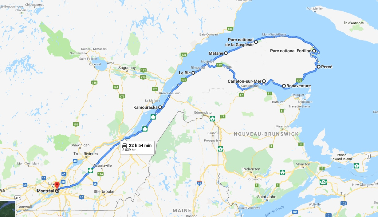 Itinéraire de notre road trip en Gaspésie