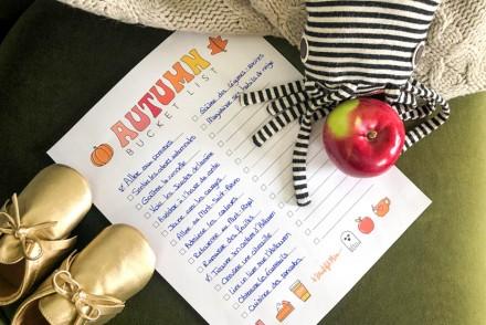 Bucket list d'automne pour bébé de 6 mois